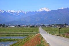 Estrada reta à montanha Fotos de Stock