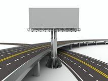 Estrada rodoviária asfaltada com quadro de avisos. 3D isolado Imagens de Stock Royalty Free