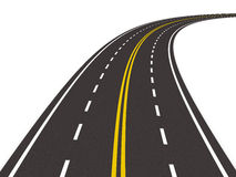Estrada rodoviária asfaltada no branco. 3D isolado Imagem de Stock Royalty Free