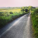 Estrada rural do alcatrão no Polônia Imagens de Stock