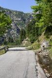 Estrada rural na regi?o Tzoumerka das montanhas, Epirus, Gr?cia fotografia de stock