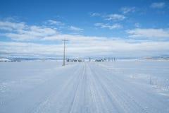 Estrada rural no inverno fotografia de stock royalty free