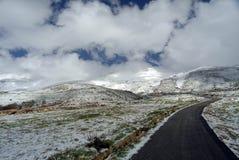 A estrada a Síria nas inclinações de Qurnat como o pico o mais alto do ` s de Sawda - de Líbano Imagem de Stock Royalty Free