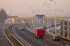 Estrada S17-S12 próximo a Lublin, Polônia Imagem de Stock Royalty Free