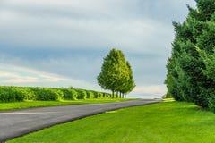 Estrada secundária de Amish, agricultura em Lancaster, PA do campo fotos de stock