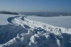 Estrada secundária no inverno Fotos de Stock Royalty Free