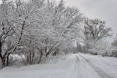 Estrada secundária completamente no inverno Fotos de Stock
