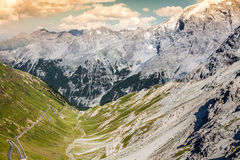 Estrada serpentina em cumes italianos, passagem da montanha de Stelvio, Passo de Fotografia de Stock Royalty Free