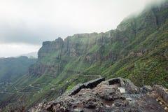 A estrada serpentina entre montanhas bonitas ajardina em Tenerife Imagem de Stock Royalty Free
