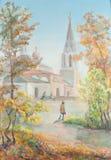 Estrada a um templo ilustração do vetor