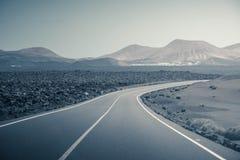 Estrada vazia em Lanzarote Fotografia de Stock