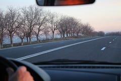 Estrada vazia no por do sol no outono Fotos de Stock