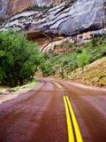 Estrada vermelha após a chuva em Zion Imagens de Stock Royalty Free