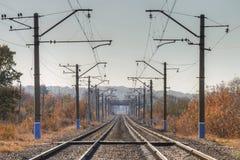 Estradas de ferro electrificadas Imagem de Stock Royalty Free