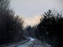 Estradas de ferro no inverno fotografia de stock