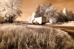 estradas do cascalho do campo Imagem infravermelha Fotos de Stock Royalty Free