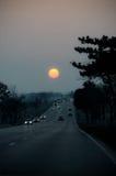 Estradas do por do sol Imagem de Stock Royalty Free