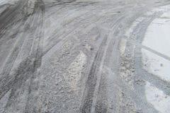 Estradas geladas Fotografia de Stock