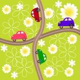 Estradas transversaas com máquinas das crianças Fotografia de Stock