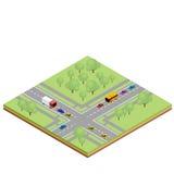 Estradas transversaas isométricas do país Fotografia de Stock Royalty Free