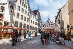 Estradas velhas da cidade em Tallinn Fotografia de Stock Royalty Free