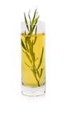 Estragón en un vidrio con el aceite de oliva, uno de los cuatro herbes de las multas de cocinar francés en un fondo blanco foto de archivo libre de regalías