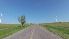 Estralle la cámara en el coche, conduciendo en Dobrogea, Rumania almacen de video
