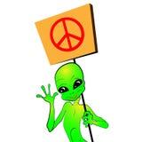 Estrangeiro dos desenhos animados com um cartaz Imagem de Stock Royalty Free