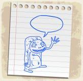 Estrangeiro dos desenhos animados na nota de papel, ilustração do vetor Fotos de Stock