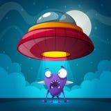 Estrangeiro, ilustração do UFO Paisagem dos desenhos animados da noite ilustração stock