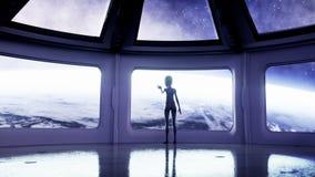 Estrangeiro na sala futurista mão que alcança para fora com planeta da terra Conceito futurista do UFO Animação 4k cinemático ilustração royalty free