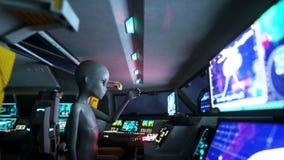 Estrangeiro no navio de espaço mão que alcança para fora com planeta da terra Conceito futurista do UFO Animação 4k cinemático ilustração stock