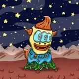 Estrangeiro ou monstro estranho louco de espaço em um planeta estranho origem Foto de Stock