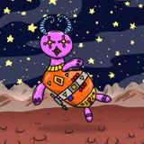Estrangeiro ou monstro estranho louco de espaço em um planeta estranho origem Imagens de Stock Royalty Free