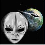 Estrangeiro que olha a ilustração da terra com UFO ilustração stock