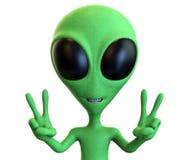 Estrangeiro verde dos desenhos animados que mostra sinais de paz duplos Imagens de Stock Royalty Free