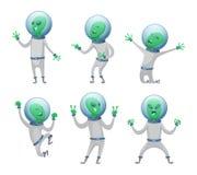 Estrangeiros dos desenhos animados em várias poses da ação ilustração stock