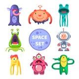 Estrangeiros e astronauta, mundo do espaço ilustração royalty free