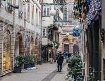 Estrasburgo Francia después de attentados terroristas en el mercado de la Navidad foto de archivo