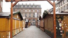 Estrasburgo Francia después de attentados terroristas en el mercado de la Navidad almacen de metraje de vídeo