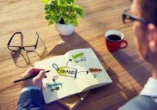 Estratégia de Brainstorming About Branding do homem de negócios imagens de stock