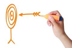 Estratégia de marketing (alvo e seta) imagens de stock royalty free