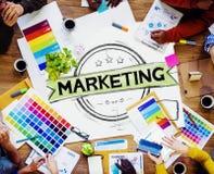 Estratégia de marketing que marca o plano comercial Concep da propaganda Foto de Stock