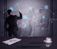 Estratégia do desenho do vendedor na reunião do escritório Imagem de Stock