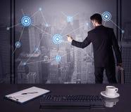 Estratégia do desenho do vendedor na reunião do escritório Imagens de Stock