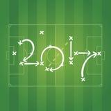 Estratégia do futebol para o fundo verde do objetivo 2017 ilustração royalty free