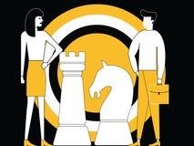 Estratégia empresarial com partes da placa de xadrez ilustração royalty free