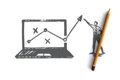 Estratégia, mercado, gráfico, diagrama, conceito da seta Vetor isolado tirado mão ilustração royalty free