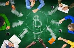 Estratégia S da reunião de planeamento da cooperação da sessão de reflexão do quadro-negro Foto de Stock