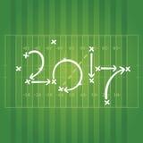 Estratégias do futebol americano para o fundo verde do objetivo 2017 ilustração do vetor
